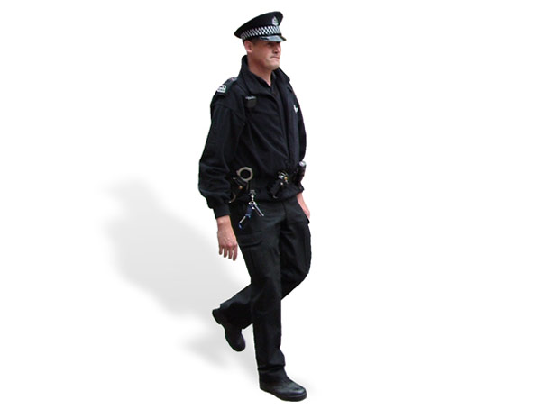 Image of a UK police officer running